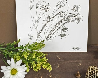 Taller Than Me -Hand Drawn, Pen and Ink, Art Print, illustration, Wall art, Kids Room Art