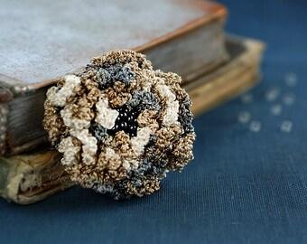 Grey and beige crochet flower brooch,  accessory