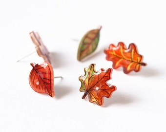 Fall Leaf Earrings Set, mix and match set of 5 autumn leaves, autumn leaf stud earrings, leaf earrings