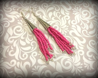 Pink Tassel earrings | Pink and Silver | Seed bead Earrings | Long Tassels | summer earrings | Dangle earrings