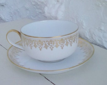 French vintage Limoges cup and saucer, tea, coffee or chocolate