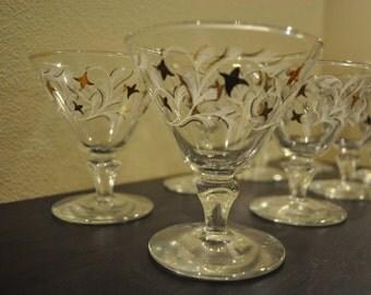 8 Vintage, Festive Mini Martini Glasses
