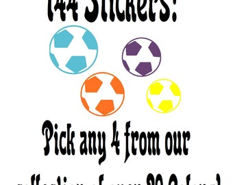 144 ~Multii sized Soccer Balls Shaped Vinyl Stickers or wall decals