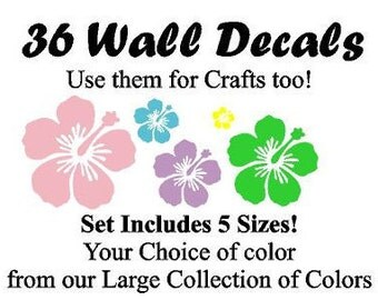 y36~Multi-sized Hibiscus tsticker or wall decal