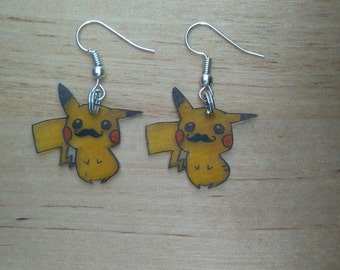 Pikachu moustache earrings
