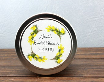 Bridal Shower Favor-Set of 12-Soy Candle Travel Tins 4 oz-Party Favors-Wedding Favors-Floral favors-Candle Favors