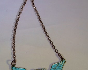 Blue Wings & Heart Charm Necklace