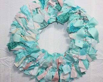 Aqua Rag Wreath