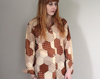 SALE Vintage 70/80s Brown Beige Patterned Shirt/Blouse With Waist Tie - Small