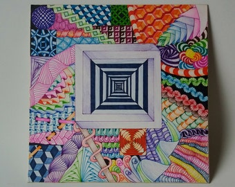 Optical illusion art, trippy 70's 3d drawing