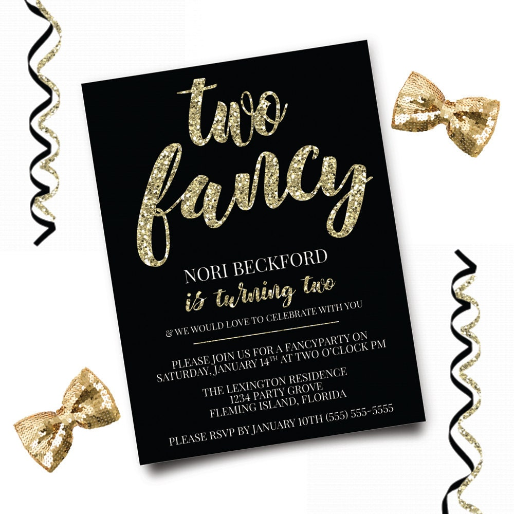 Two Fancy Birthday Invitation Glitter Birthday Invitation