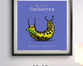 Personalised children's name and Caterpillar animal illustration, Letter 'C', A-Z of Animals, giclee print, 50 x 50 cm, bedroom wall art.