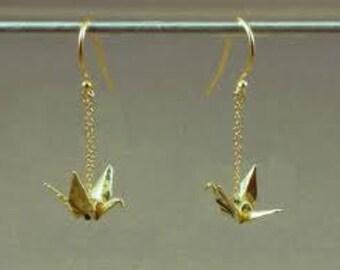Handmade Japanese Origami Crane Earrings