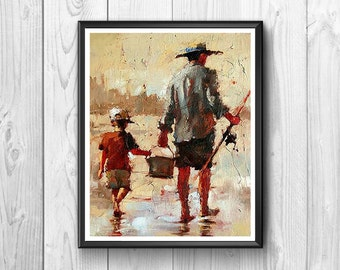 Father and son on their way to fishing
