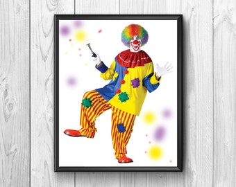 Clown Circus, multicolored dress with a blower in hand