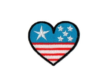 America Flag Patch - USA Flag Heart Embroidered Iron on Patch