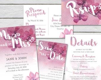 Pink orchid wedding Invitation, 4 piece suite, Printable wedding invitations, Custom wedding Invitations, Wedding printable