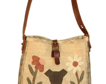 Quilted Patchwork Handbag - Boutique - Two-tone Body w/ Embroidered Animals
