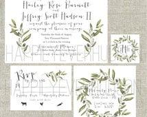 Printable Olive Branch Wedding Suite / Watercolor Wreath / DIY Invitation Suite