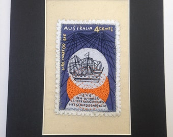 Australian Vintage Stamp Embroidery
