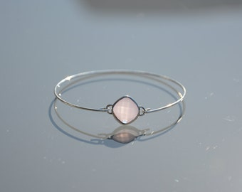 Bracelet ring in Sterling Silver 925 - white pink faceted bead or Druze