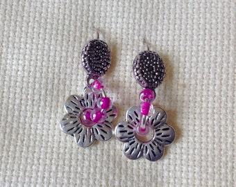 Earrings silver flowers