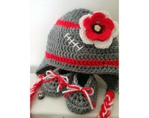 Ohio State Buckeyes Inspired Crochet Baby Outfit; OSU Buckeyes Baby Girl Crochet Outfit; OSU Crochet Hat and Booties; Football Crochet Set