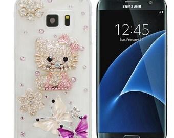 Rhinestone Bling 3D Deco Customized Hello Kitty Handmade Samsung Galaxy S5/S6/S7 edge Phone Case