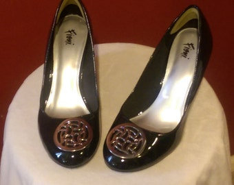Black Patent Leather Wedge Heels Size 10