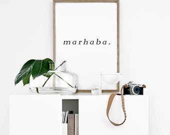 MARHABA PRINTABLE | Welcome Wall Art | Arabic Word Art | Scandinavian Print | Black and White | Typography Wall Art | Minimalist Print