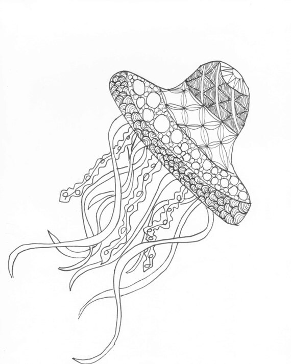 Jellyfish Zentangle Adult Coloring Page