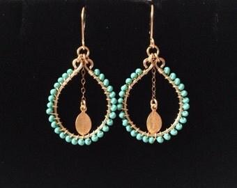 Coin Hoop Beaded Earrings