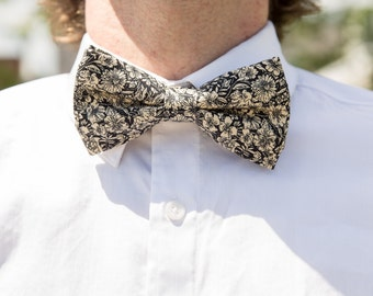 Bowtie flowery, black and beige, bow tie for men, chic, pre-noue and adjustable