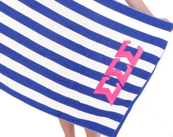 Sigma Sigma Sigma Towel Stripes . Pink Greek Letters