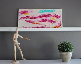 Pink, yellow and blue abstract art. rectangular canvas. Original modern painting on 10X20 canvas. Contemporary art home decor