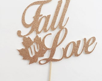 Fall Wedding Topper - Fall Wedding Decor - Fall in Love - Fall in Love Cake Topper - Rustic Wedding Decor - Wedding Cake Topper