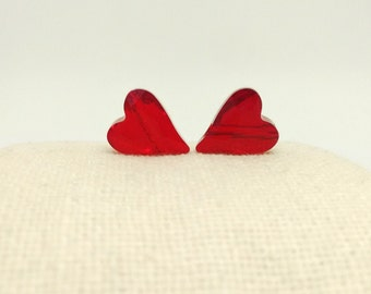 2 Swarovski Beads, 12mm Crystal Heart, Faceted Siam Heart Bead, 5743, Diagonal Drill Hole, Red Heart, Spacer Beads, Jewelry Supplies,RC8266