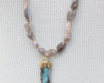 Labradorite & Shell Tusk Necklace