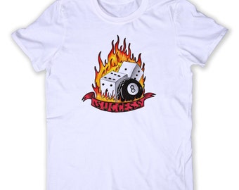 Gambling Tee Gamble Addiction Casino Gambler Betting Dice Poker Las Vegas Graphic T-shirt