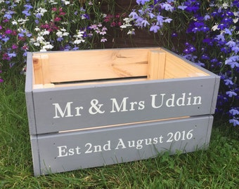 Personalised Hand Painted Wooden Wedding Crate