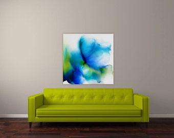 """Original abstract acrylic painting, butterfly, ink, 24x24"""", blue, teal, green, yellow"""