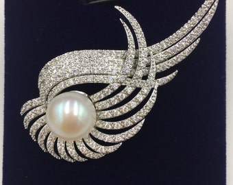 Pearl Broach Brass Material Broach with white Fresh water Pearl 13mm (B101)