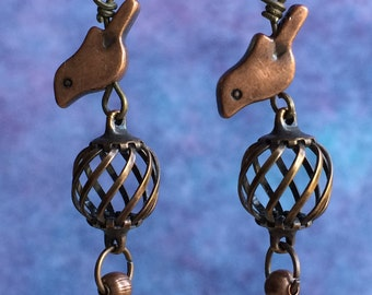 Copper Birds on Cage Earrings