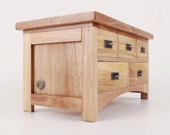 Handmade walnut  jewelry chest with 5 drawers, jewelry box