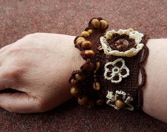 Handmade crocheted wrist cuff with wooden beads (larger size)