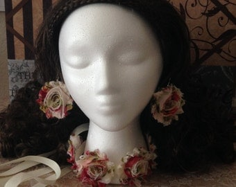 Floral Headband/Necklace (2 in 1) + Earrings (Adjustable)