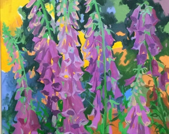 "Original Oil Painting  ""Foxgloves"""