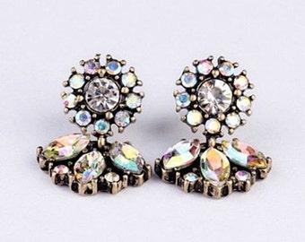 Rhinestone  Retro Chandelier  Flower Drop Earrings