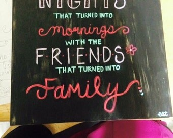 Here's to the nights canvas/family/friends/girl/gift/bedroom/decor/quote/wall art/art