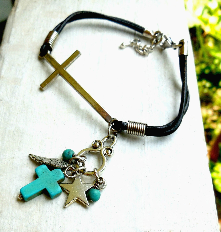 Dangling Cross Bracelet: Sideways Cross Bracelet Leather With Assorted Dangling Charms
